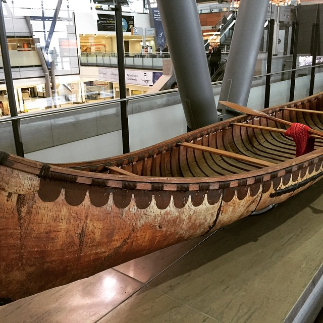 A birchbark canoe at the Ottawa Airport