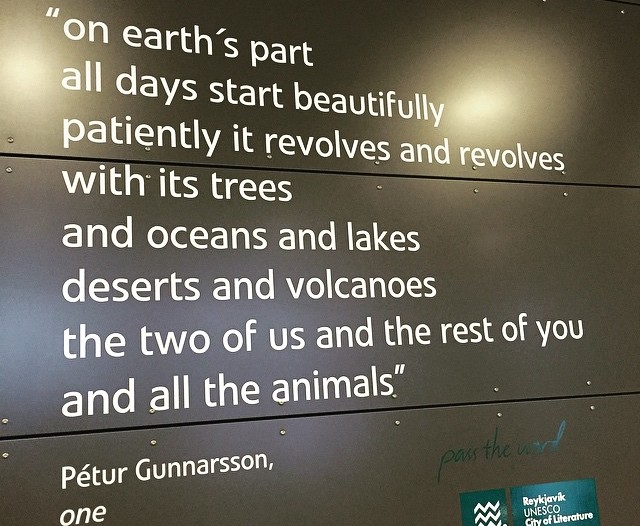 Poem on display at the Keflavik airport