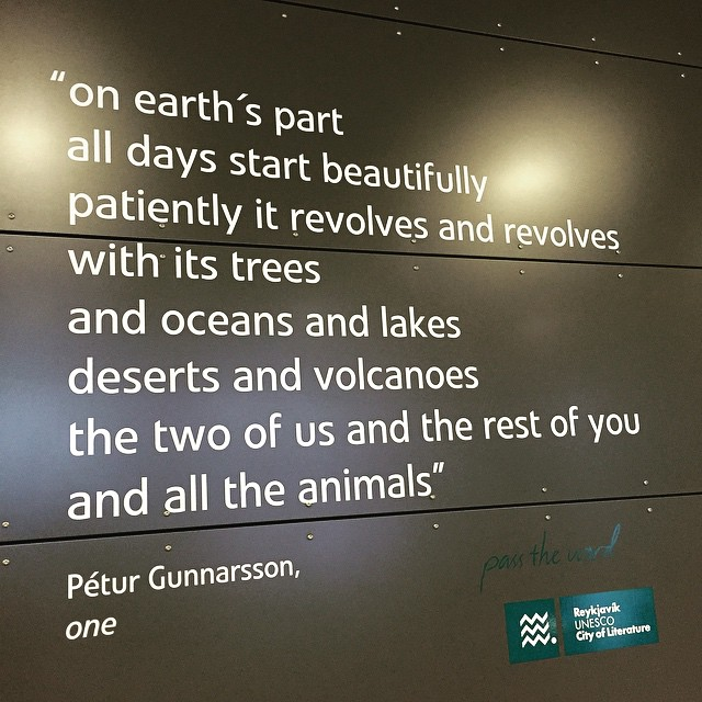 Poem on display at the Keflavik airport