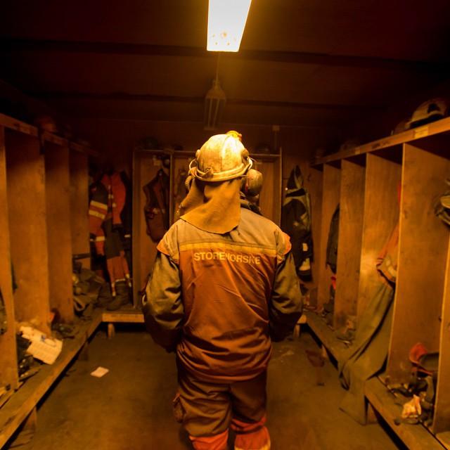 Joachim Myhrvang in the mine's locker room