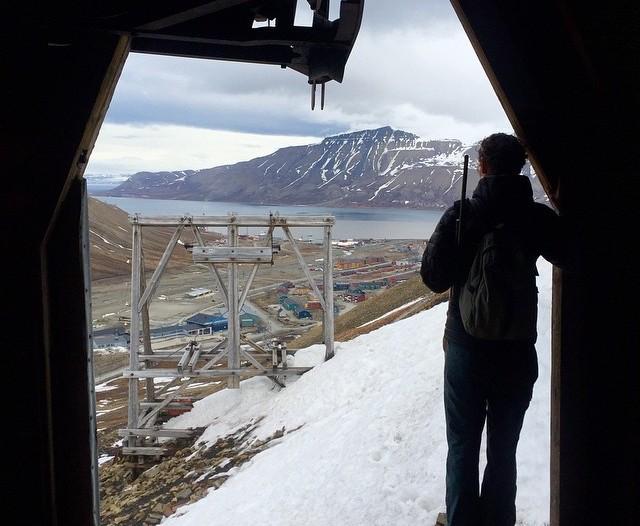 Jenny looks out from Longyearbyen's Santa Claus mine