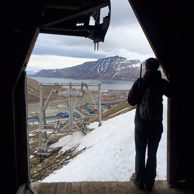 Jenny looks out from Longyearbyen's Santa Claus mine