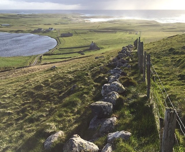 A view from the hill behind the North Uist house
