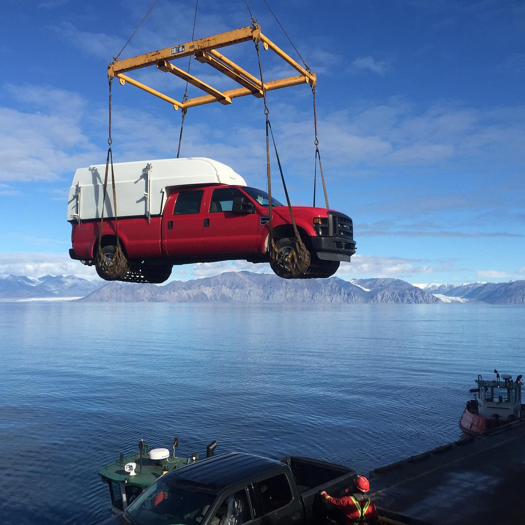 The Avataq unloads a truck in Pond Inlet, Nunavut