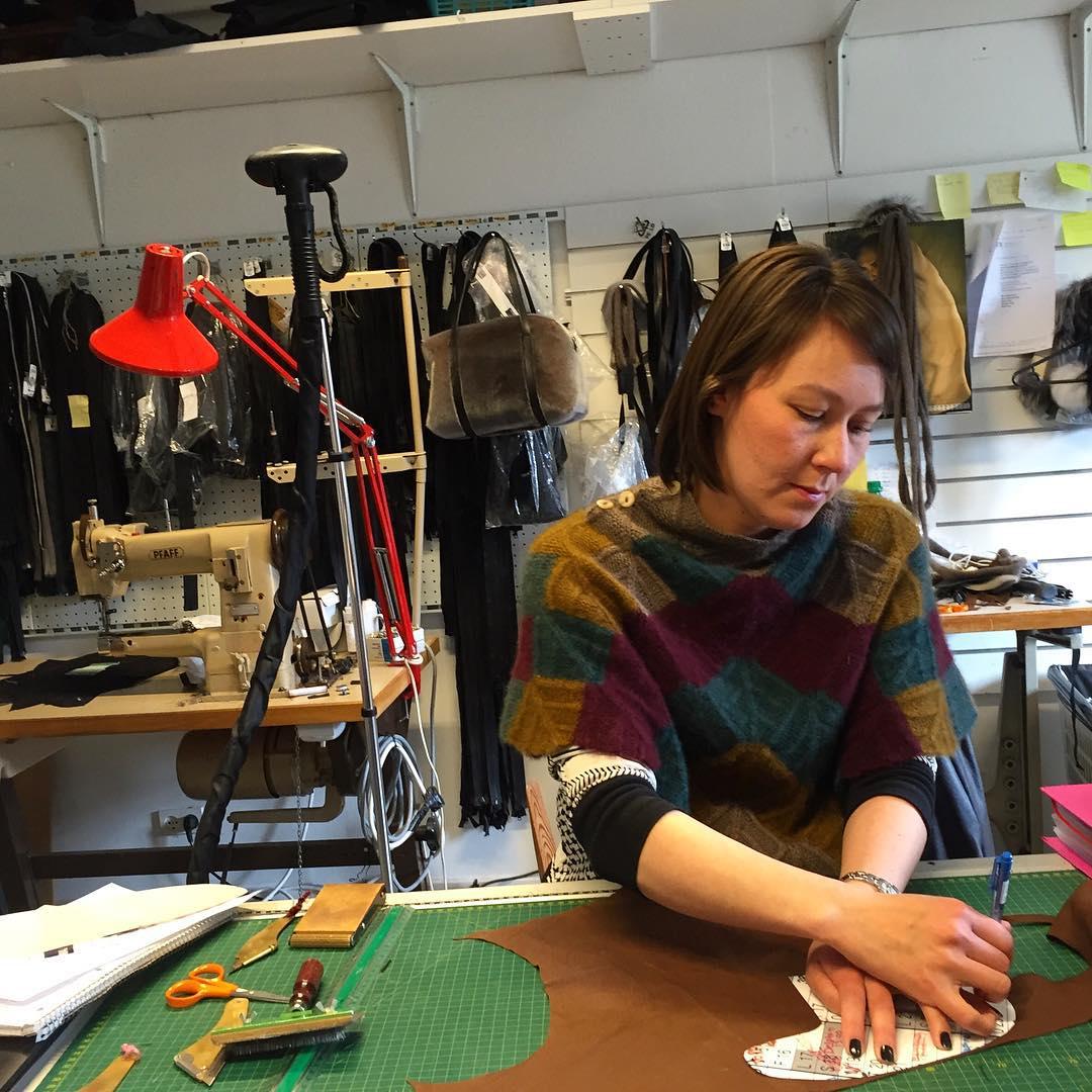Soriina Davidsen prepares a sealskin