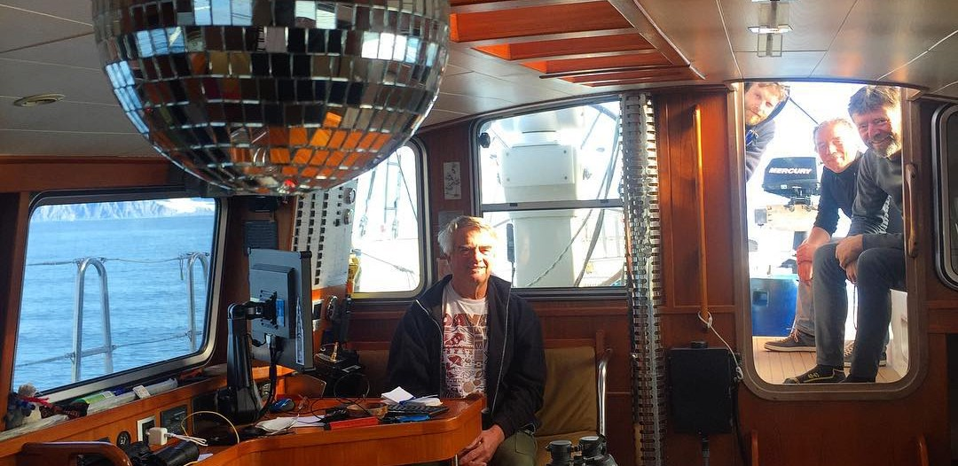 The cabin of the Necton boasts a disco ball