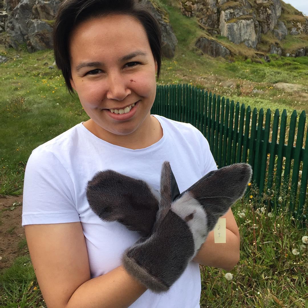 Vera Larsen and her sealskin mittens