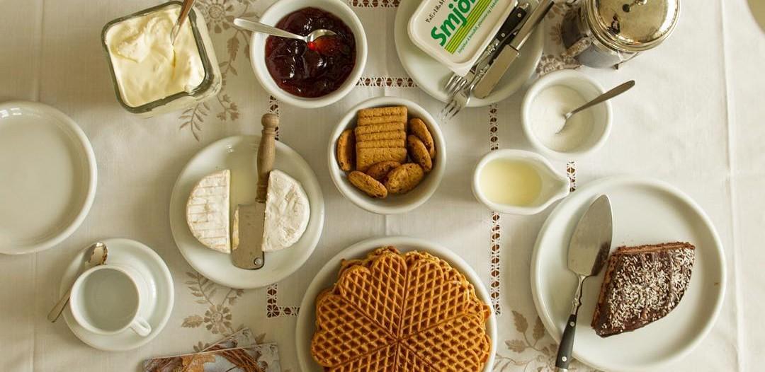 Tea is laid out on the table at Margrét Heinreksdöttir's house