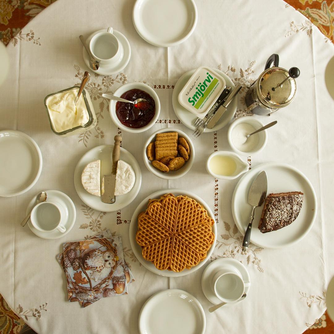 Tea is laid out on the table at Margrét Heinreksdöttir's house