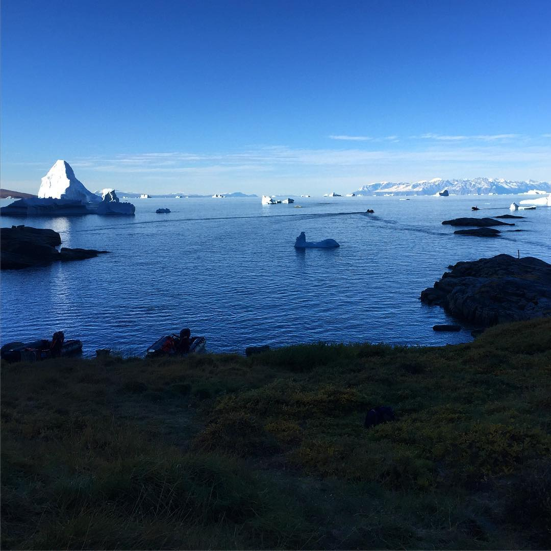 Qilakitsoq, Greenland and icebergs in the bay