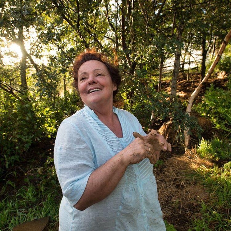 Olga Andreasen in her garden
