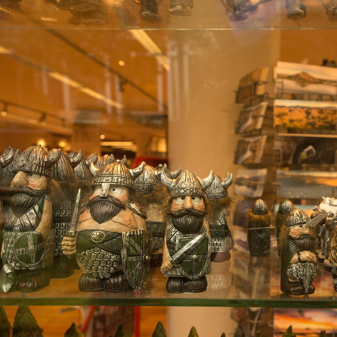 Viking figurines line the window of a gift shop