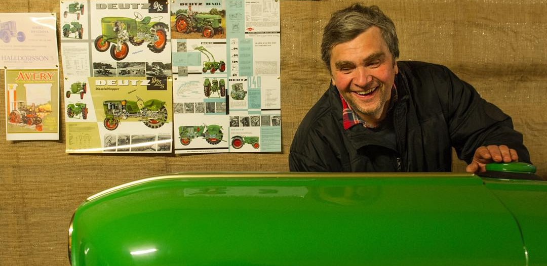 Eyberg shows off his refurbished green tractor