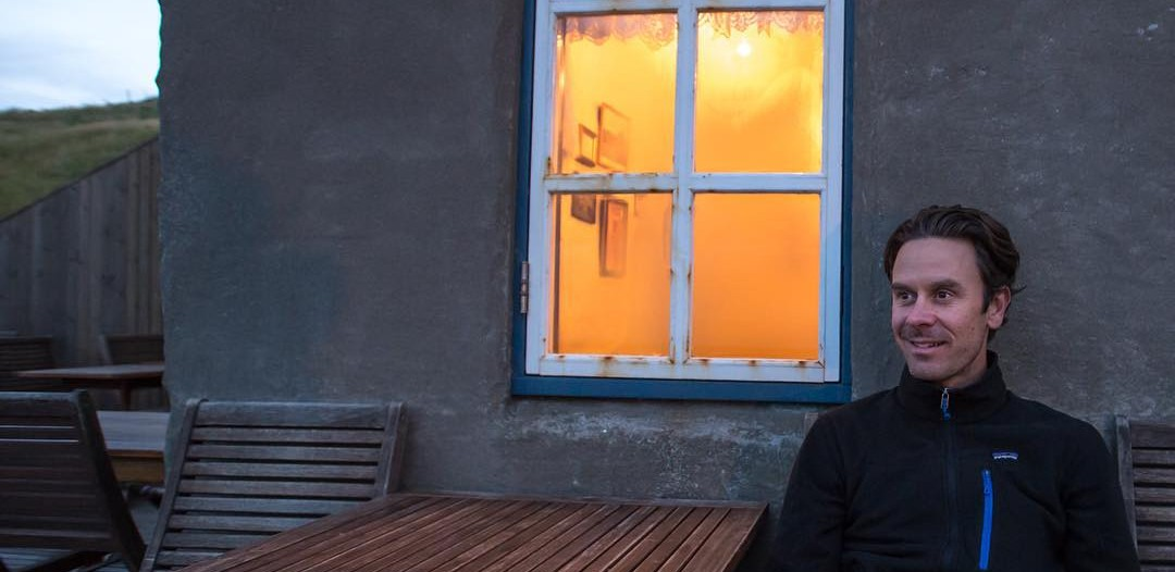 Eric Guth at a tiny restaurant in Iceland