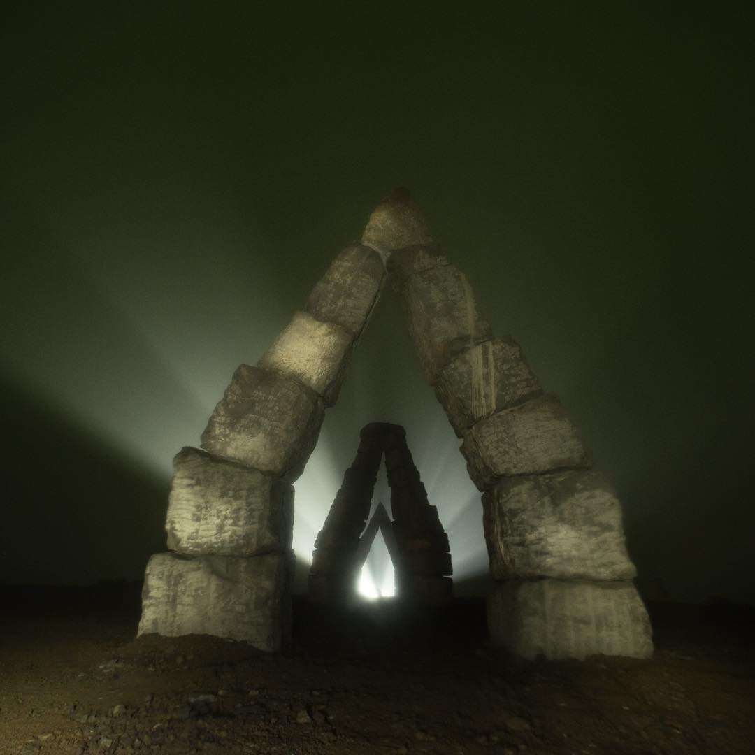 The impressive arches of Arctic Henge lit up at night