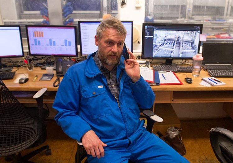 Siggeir Stefánsson in the fish plant's control room