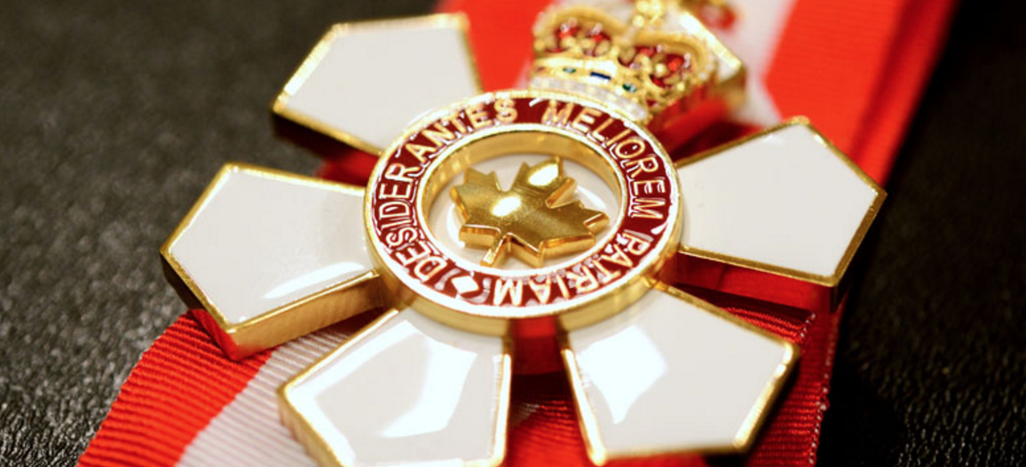 The white and red Order of Canada medal