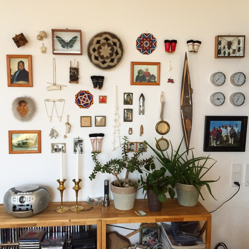 A wall displaying a medley of interesting objects.