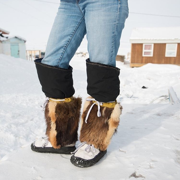A pair of homemade winter boots.