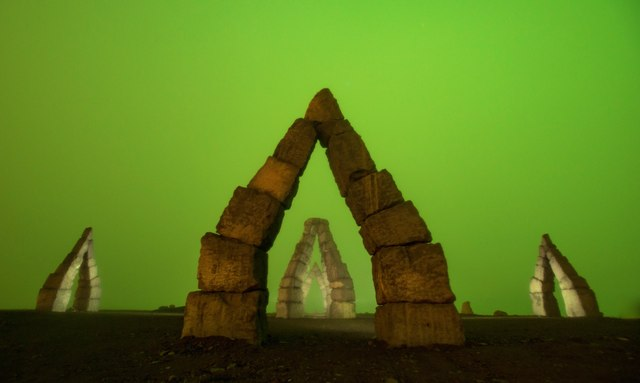 Arctic Henge at night.