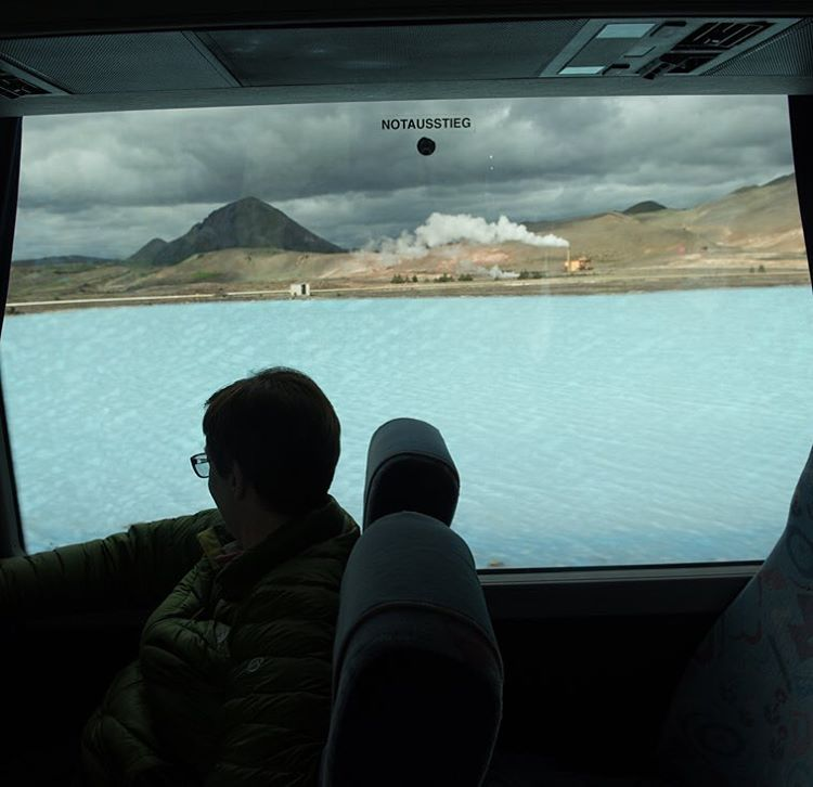 An icelandic landscape, as seen from a bus window.