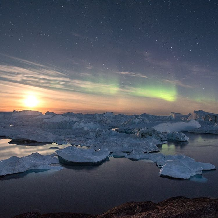 The Northern Lights over Ilulissat.