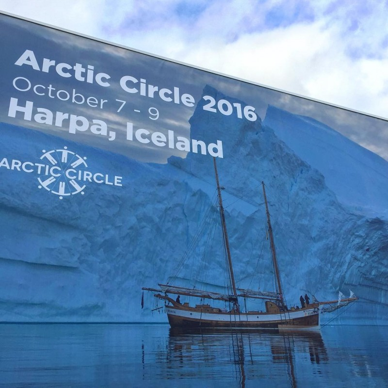 A billboard advertising the Arctic Circle Conference..