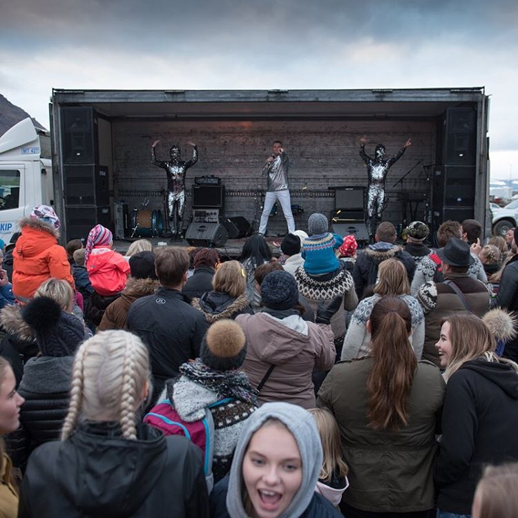 An excited crowd watches Páll Óskar perform.