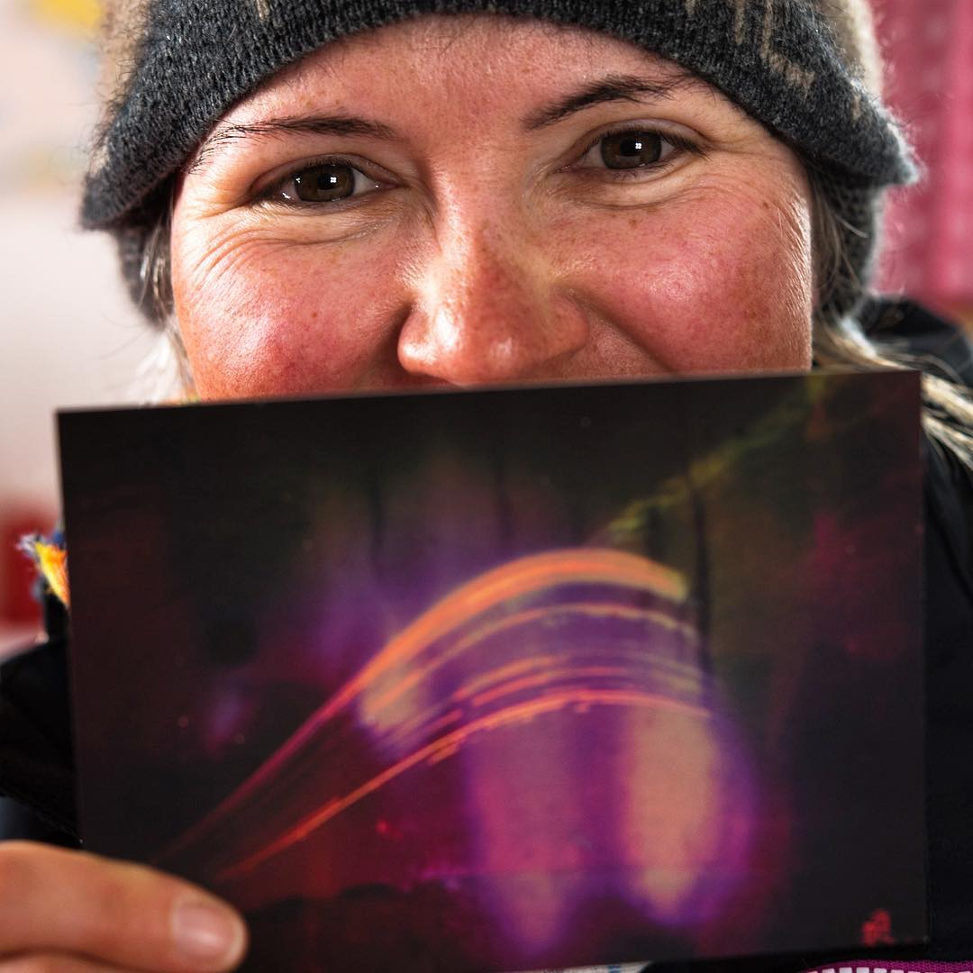 Adele Jackson displays one of her solargrams.