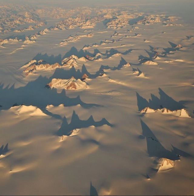 Aerial view of East Greenland.