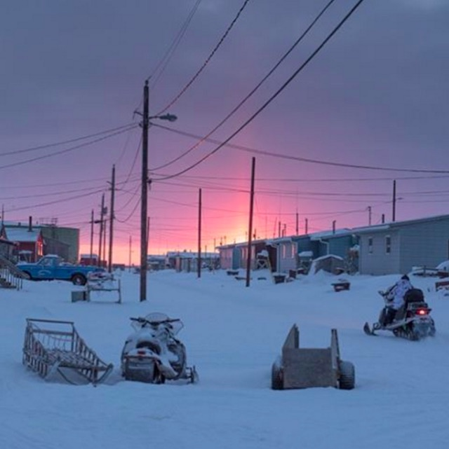 Sunset in Shishmaref, Alaska.