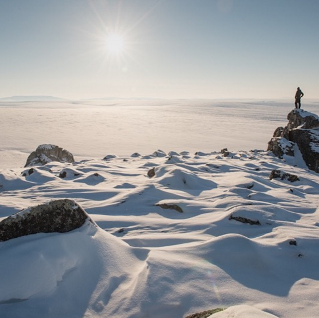 Jenny stands on an outcropping of rock in the Alaskan tundra.