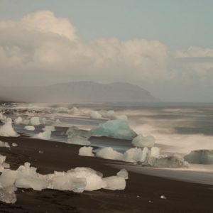 Ice chunks dot the beach in Iceland.