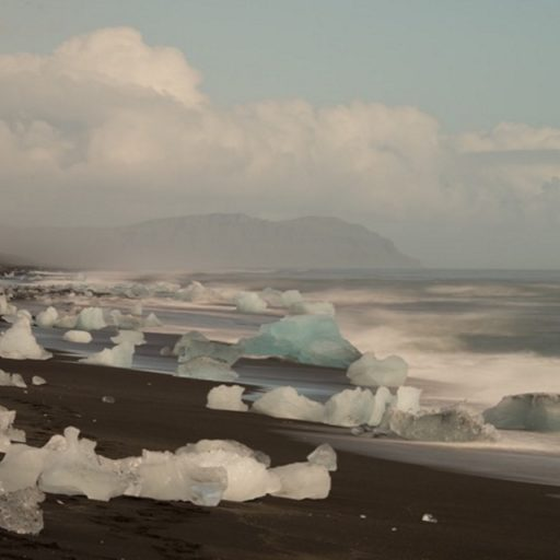 Ice chunks dot the beach in Iceland.