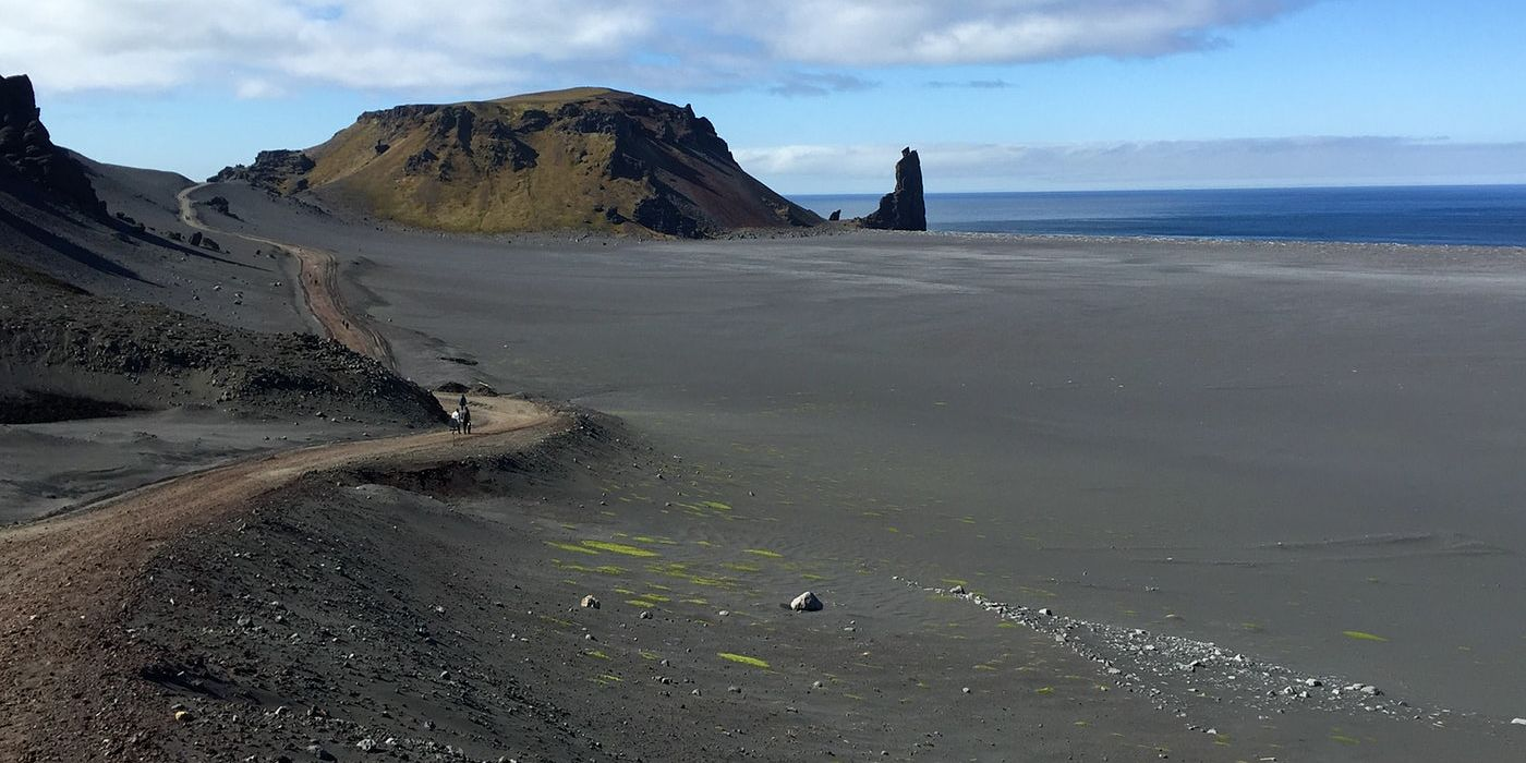 The view from Jan Mayen's road is spectacular.