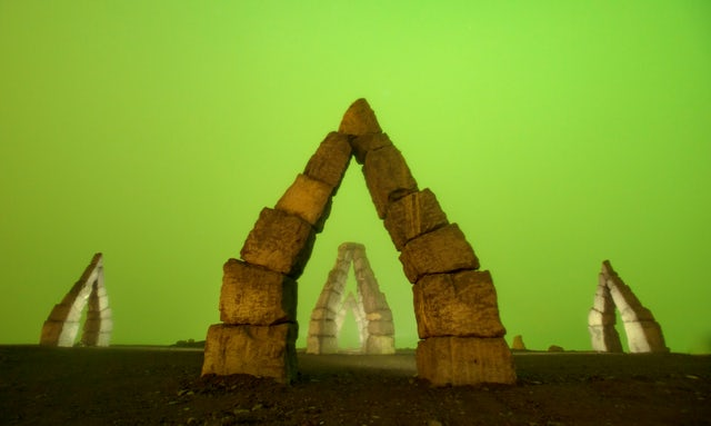 The Arctic Henge at night.