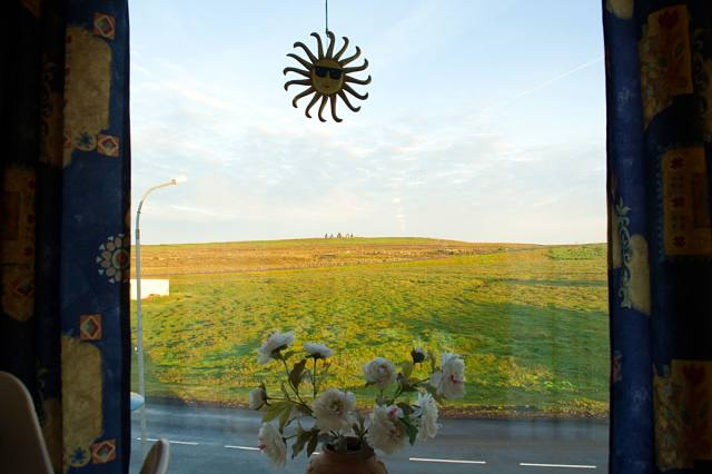Looking out the hotel window at the Arctic Henge in the distance.