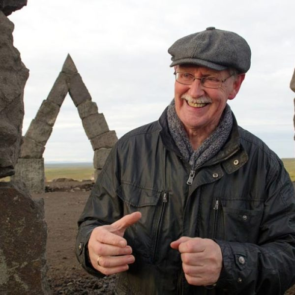 Erlingur B. Thoroddsen stands in front of his hobby – the Arctic Henge.