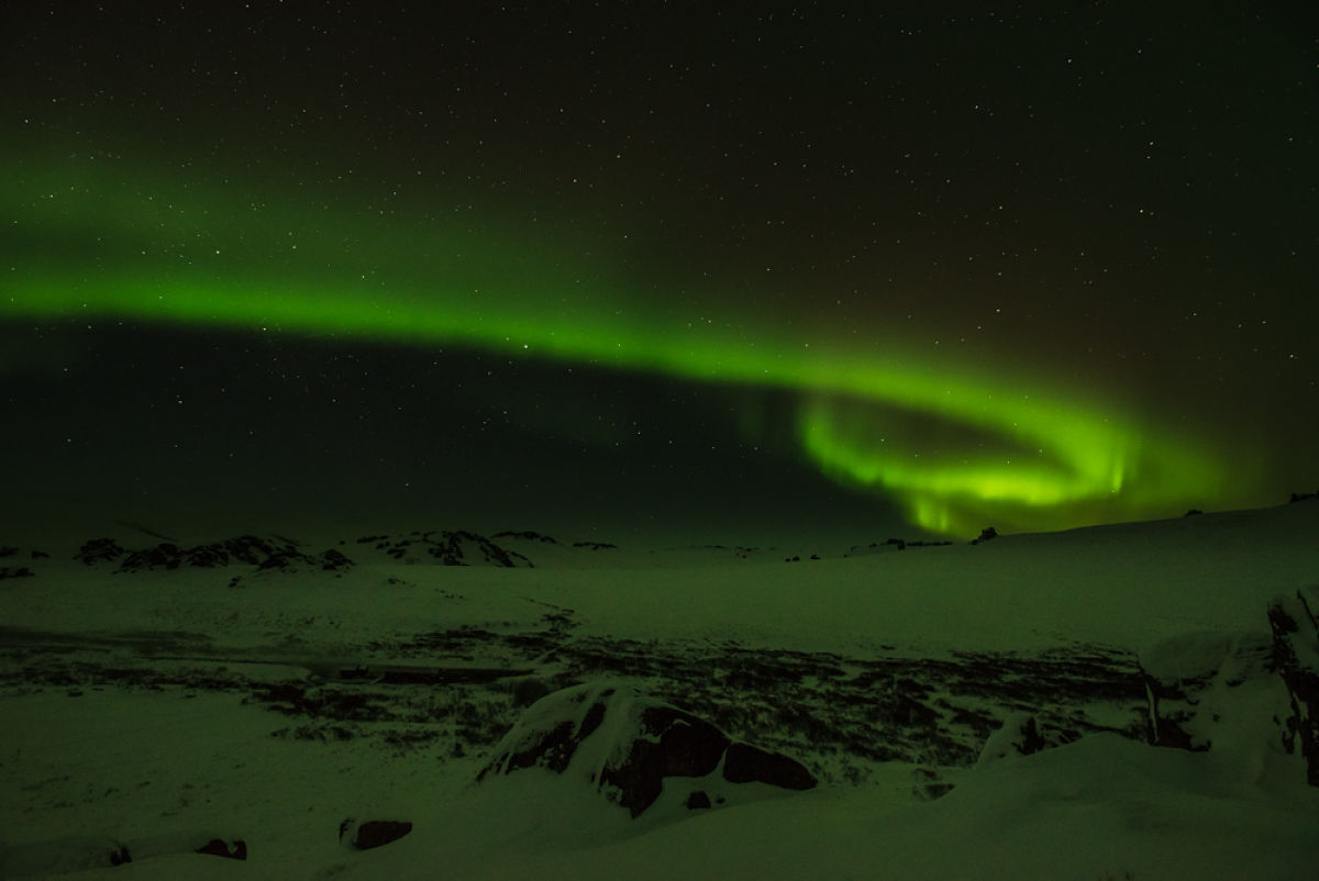 An aurora over the Bering Land Bridge National Preserve.