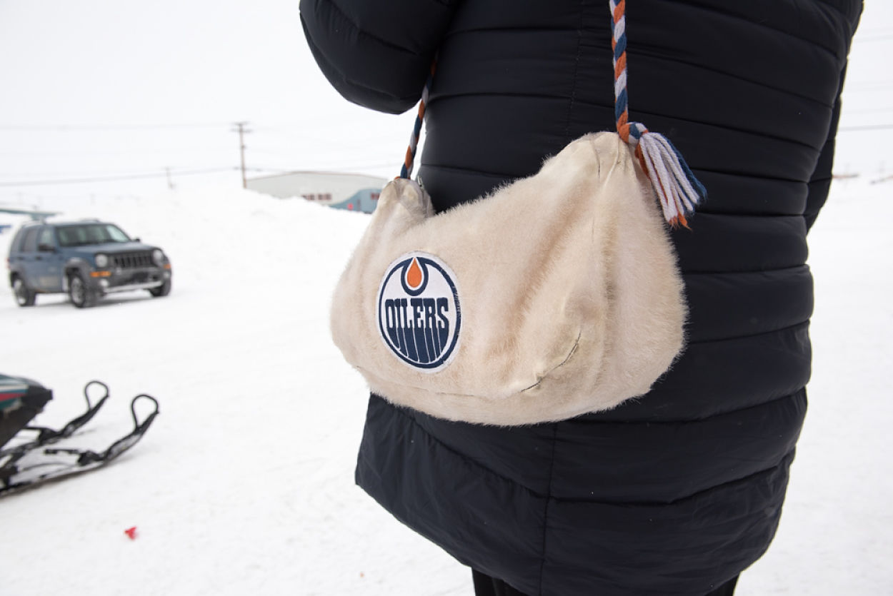 Nina Kautuq goes everywhere with her sealskin Oiler's bag.