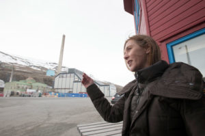 Elisabeth Larsen at the coal mine offices