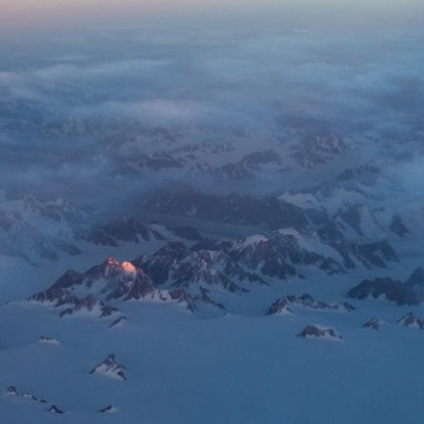 Aerial shot of mountains in Greenland.
