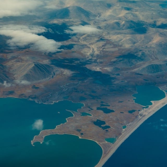 Flying over the Bering Strait on the way to Russia.