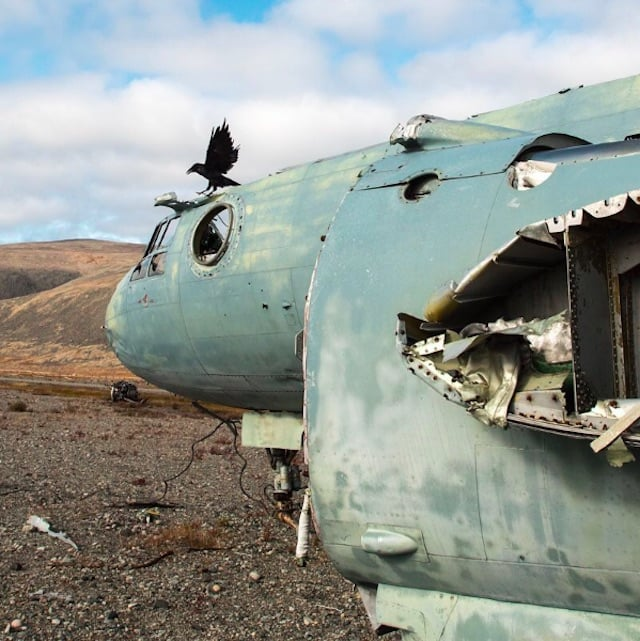 The wreckage of a plane in Russia.