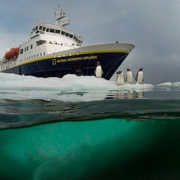 The National Geographic Explorer at sea.