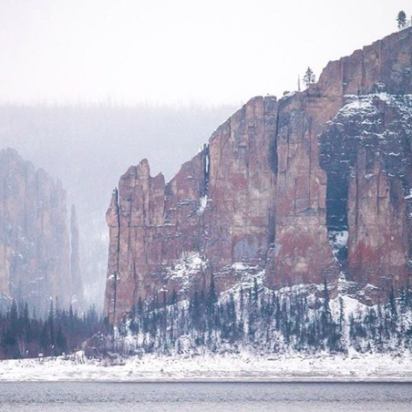 The Lena Pillars on the Lena River in Russia.