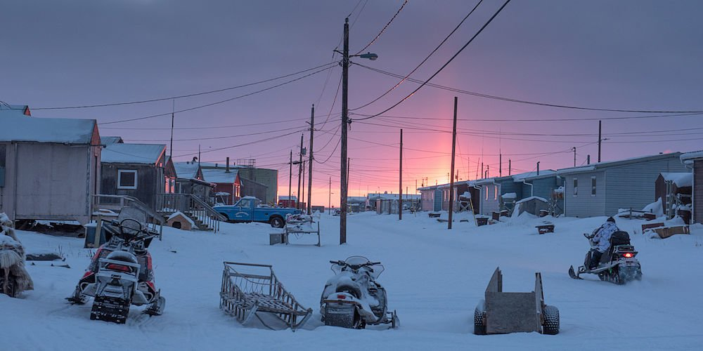 Sunrise in the town of Shishmaref, western Alaska, USA.