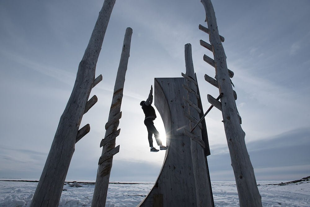 "The Eskimo Ninja (aka Nick Hanson of Unalakleet, Alaska) trains on his homemade obstacle course in preparation for his appearence in the hit TV show, ""American Ninja Warrior."""