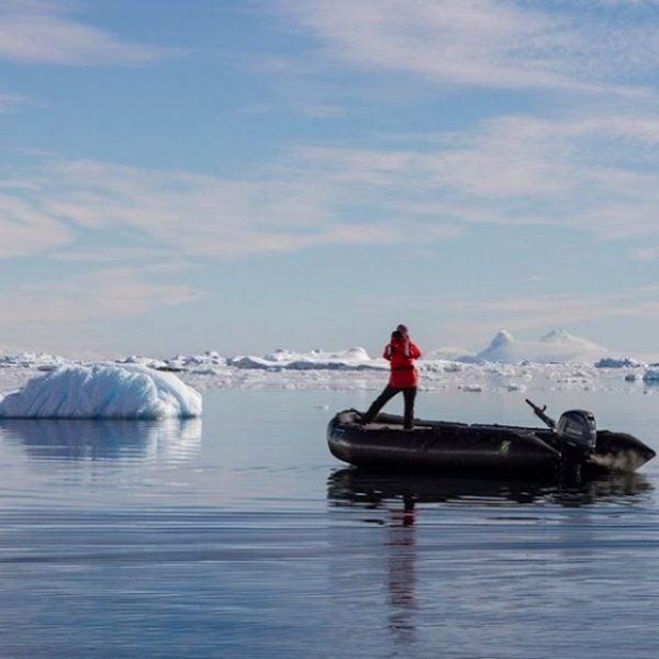 Jenny on a zodiak in Antarctica.