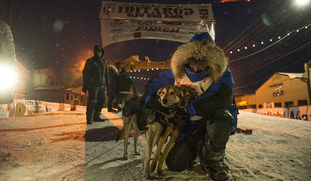 Iditarod musher, Geir Idar Hjelvik, from Norjordet Norway, embraces his dogs after crossing the finish line of the 2017 Iditarod Sled Dog Race. Nome, Alaska.